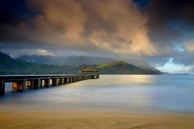Light at the end of the Pier - Hanalei, Kauai, Hawaii